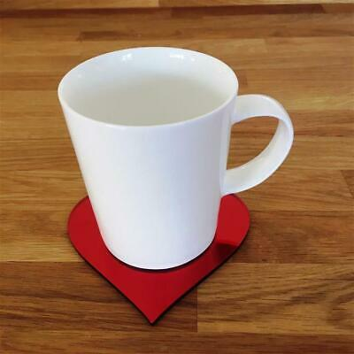 Heart Shaped Silver Mirrored Gloss Acrylic Coasters, Sets of 4, 6 or 8, 11cm 4""