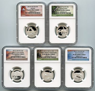 2014 S Silver Quarter 5 Coin Proof Set NGC PF69 America The Beautiful 25C