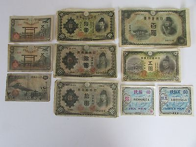 Military Currency Lot Of 10 Notes. With Various Denominations