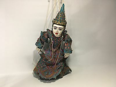 Burmese Marionette Hand Carved Puppet Jointed Hands and Mouth Antique