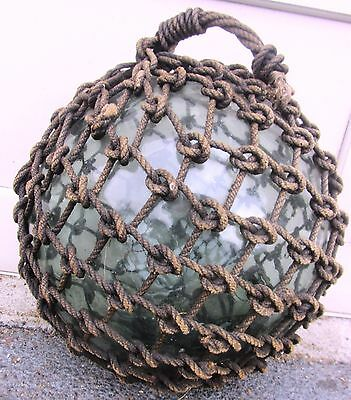 "Vintage Antique 14"" Wide Japanese Glass Fishing Float Buoy With Rope Net Large"