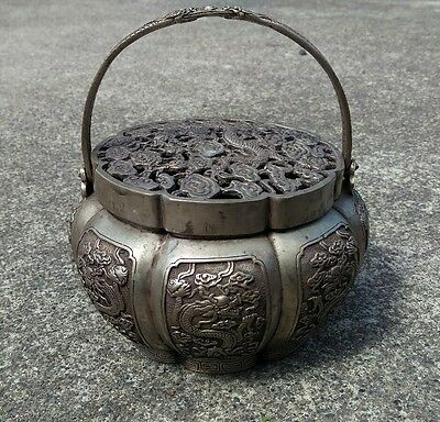 Old VTG Chinese White Brass Carving Dragon Clouds  basket pot w/ lid & handle