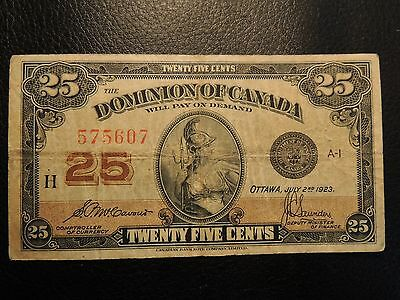 1923 Dominion Of Canada Shinplaster 0.25 Twenty Five Mccavour Saunders 575607