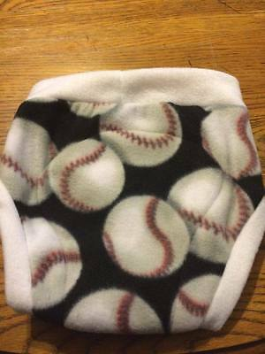 Fleece soaker diaper cover overnight cloth diaper shortie Baseballs