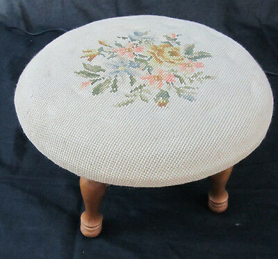 Round Stool  With Needlepoint Quilting