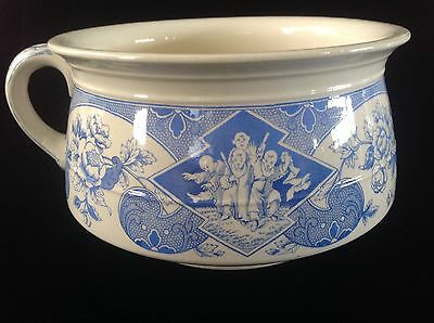 Antique RARE Blue & White Transferware Chamber Pot Brownfield & Sons SADO c.1881