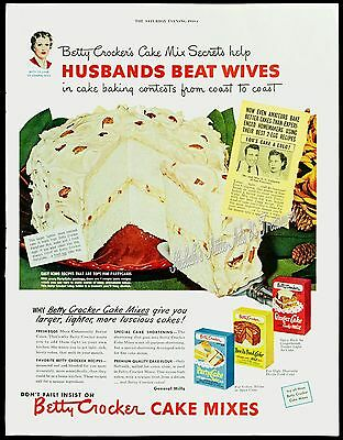 1950 BETTY CROCKER Cake Mixes Baking HUSBANDS BEAT WIVES Orig Vtg PRINT AD