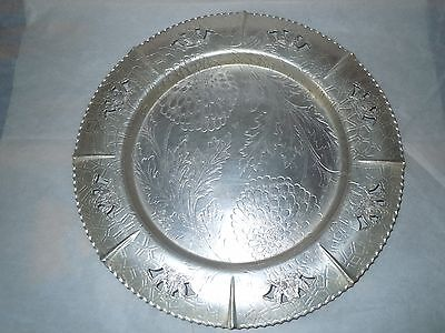 Vintage Forman Family Hand Wrought Aluminum Etched Floral Serving Platter Tray