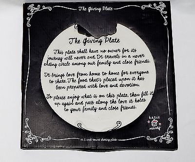 """The Giving Plate 10.5"""" Round Sharing Plate Pass Along The Love NIB"""