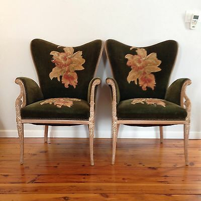 Vintage Art Deco Hollywood Regency Chairs French Upholstered Cerused