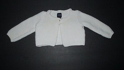 Infant Girls Baby Gap Ivory Squiggle Knit Cardigan Sweater Size 3-6 Months