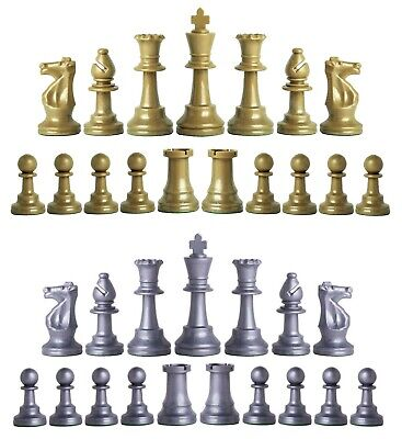 Staunton Triple Weighted Chess Pieces – Set 34 Khaki Gold & Silver - 4 Queens