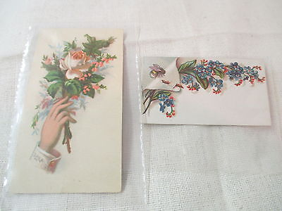 Antique 2 Victorian Trade Cards Hand Holding Rose & Morrison Bryan Ohio Sulkies