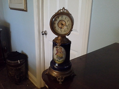 19th Century French Wind-up Clock, porcelain hand painted, reduced price