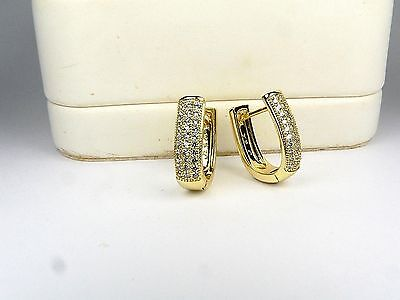 14ct real gold GF earrings with simulated diamonds weight 4.4g