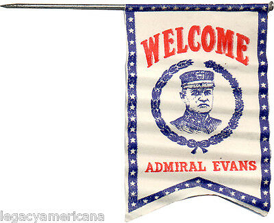 c. 1907 Welcome Admiral Robley Evans Paper Badge ~ Great White Fleet (3606)