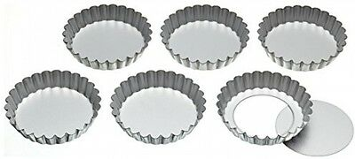 KitchenCraft Stainless Steel Fluted Tartlet Tins With Loose Bases, 10 Cm (Set