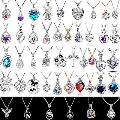 Newest Women Jewelry 925 Sterling Silver Charm Necklace Pendant Clavicle Chain