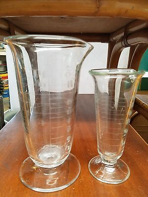 Two Antique Lab Glass Etched Beakers / Graduated Cylinders, Vtg Chemistry