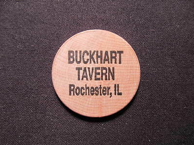 Rochester, Illinois Wooden Nickel token - Buckhart Tavern Wooden Nickel Coin