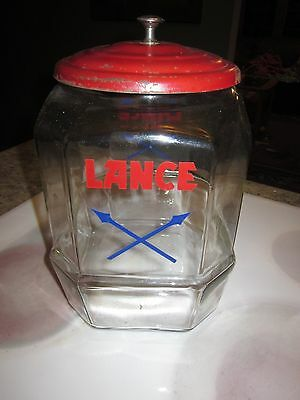 VINTAGE LANCE STORE DISPLAY COOKIE CRACKER GLASS JAR  8 SIDED ARROWS W/ lid #2