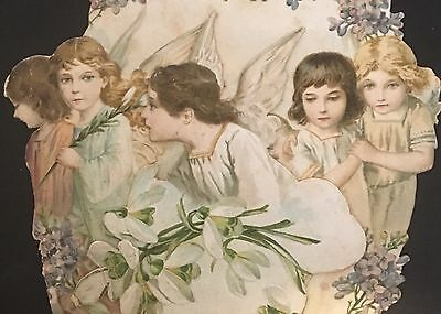 Three Dimensional Victorian Easter Card ~ Little Girl Angels ~ Lilies & Violets
