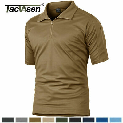 TACVASEN Mens Quick-Drying Tactical Combat Tee Shirt Casual Zip Collar T-Shirt