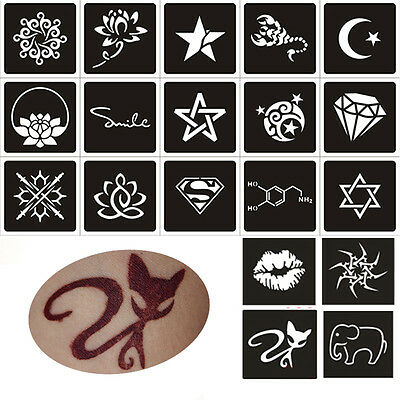 2Sheet Temporary Tattoo Stencils Template For Body Art Decal DIY Flower Painting