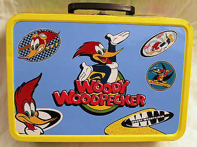 "Frankford Candy Woody Woodpecker Metal Popcorn 13"" Jumbo Tin Lunch Box - 1999"