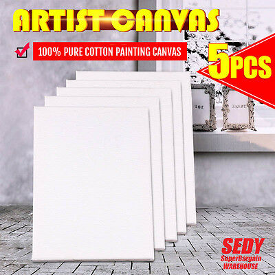 5x Blank Painting Canvas Artist Stretched White Primer Oil Acrylic