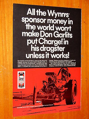 1968 Wynns Charge! Engine Treatment Oil Ad + Vintage Don Garlits Dragster 60S
