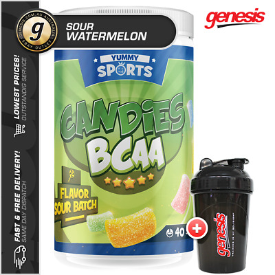 Yummy Sports Candies BCAA's - Amino Acids *40 SRV SOUR WATERMELON* - FREE Gift!