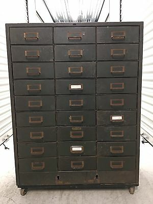 VTG Industrial Cramer 27-Drawer Metal Parts File Cabinet Storage Military