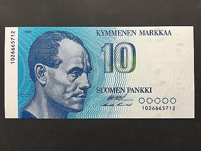 Finland 10 Markkaa P113 Serial 1026665712 Dated 1986 Uncirculated UNC
