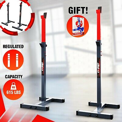 Olympic Squat Rack Stand Power Stands Barbell Adjustable Press Weight