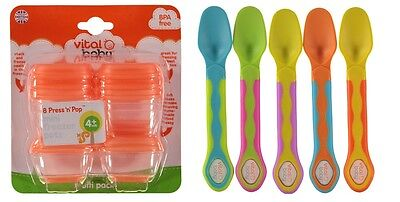 Vital Baby 8 Press 'n' Pop Mini Freezer Pots & Baby Soft Tip Weaning Spoons