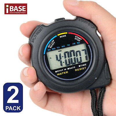 2x Handheld Stopwatch Digital Chronograph Sports Counter Timer Watch Waterproof