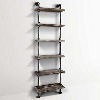 Six Level DIY Industrial Pipe Shelf Vintage Rustic Décor Design Furniture