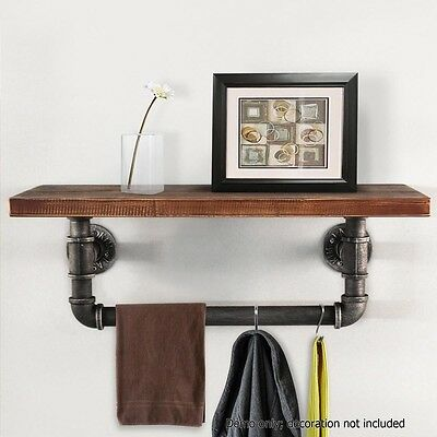 Rustic Industrial DIY Floating Pipe Shelf Towel Rack Indoor Vintage Clothes Rack