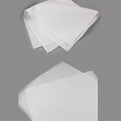Mens Pure Cotton White Handkerchief Hanky Pocket Square Wedding Party 1Pc