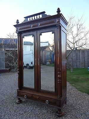 EARLY 19thc ANTIQUE FRENCH CHESTNUT BEDROOM HANGING WARDROBE CUPBOARD ARMOIRE