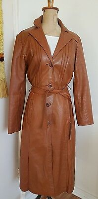 Vintage 1970s Genuine Leather Jacket Long Trench Coat Brown Tan Belt Size 12 14