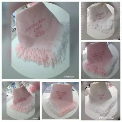 BABY GIRLS PERSONALISED SHAWL BLANKET pink  name + crown heart baby shower