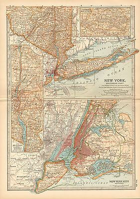 1903 Britannica Antique Map-New York Southern Part/new York City & Vicinity