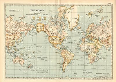 1903 Britannica Antique Map-The World On Mercators Projection