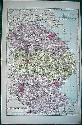 1884 Large Antique County Map-Bacon -Lincolnshire,boston,rantham,grimsby