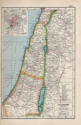 1920 Map -Post Ww1- Modern Palestine,inset Jerusalem