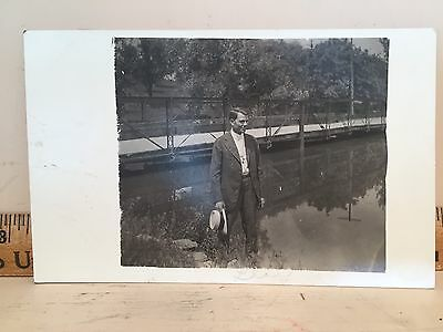 RPPC Rochester NY Man on Float Bridge or Dock Webster or Irondequoit New York