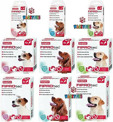 DOG FLEA TREATMENT Beaphar FIPROtec DOG. Fipronil Spot On. SM - L Dog 1 / 4 / 6
