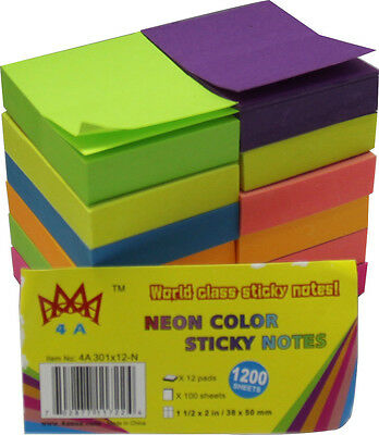 """4A Sticky Notes-1.5""""x2""""-Neon Assorted Collection-1200 sheets-Free Shipping NEW"""